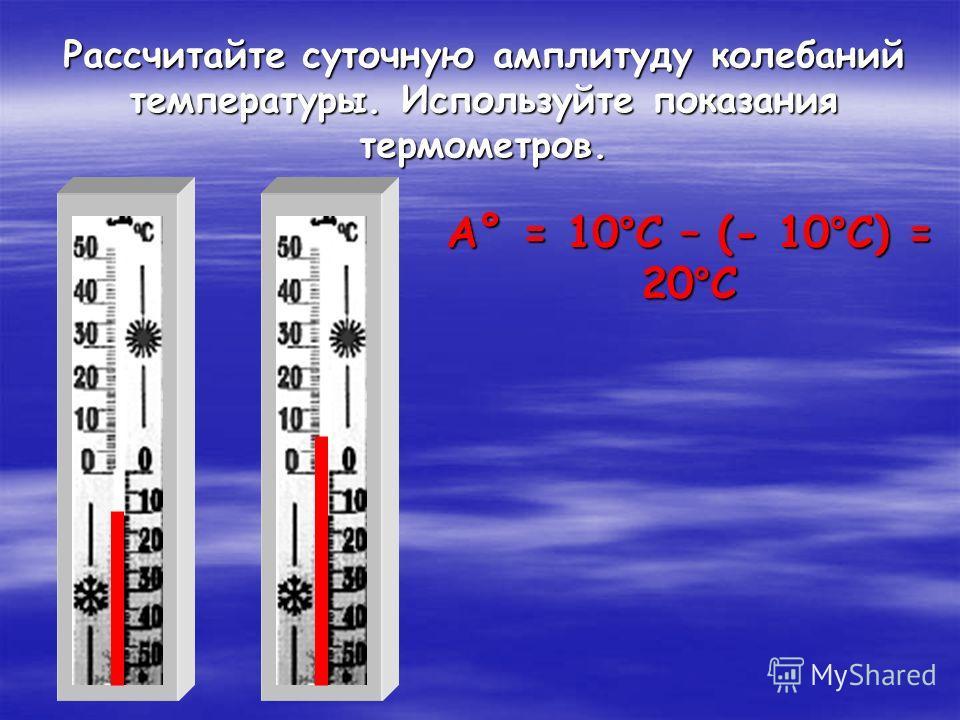 Рассчитайте суточную амплитуду колебаний температуры. Используйте показания термометров. А° = 10°С – (- 10°С) = 20°С