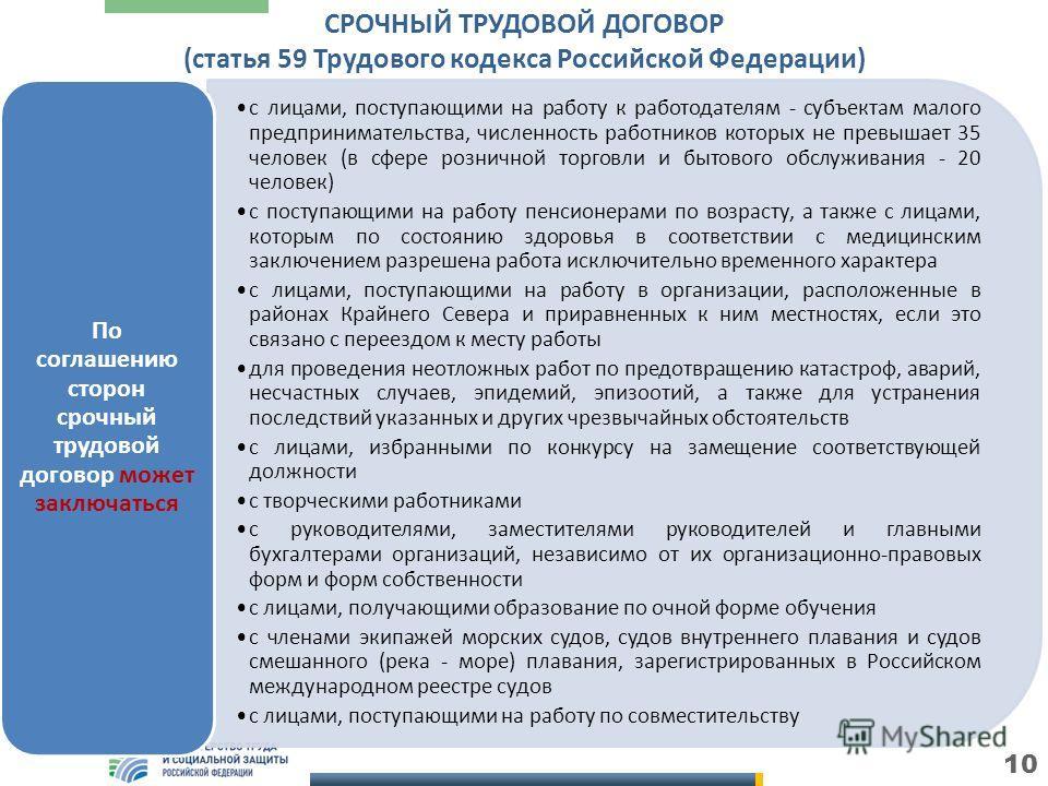 10 СРОЧНЫЙ ТРУДОВОЙ ДОГОВОР (статья 59 Трудового кодекса Российской Федерации) с лицами, поступающими на работу к работодателям - субъектам малого предпринимательства, численность работников которых не превышает 35 человек (в сфере розничной торговли