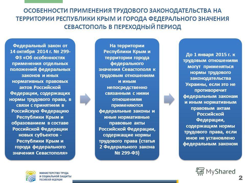 2 Федеральный закон от 14 октября 2014 г. 299- ФЗ «Об особенностях применения отдельных положений федеральных законов и иных нормативных правовых актов Российской Федерации, содержащих нормы трудового права, в связи с принятием в Российскую Федерацию