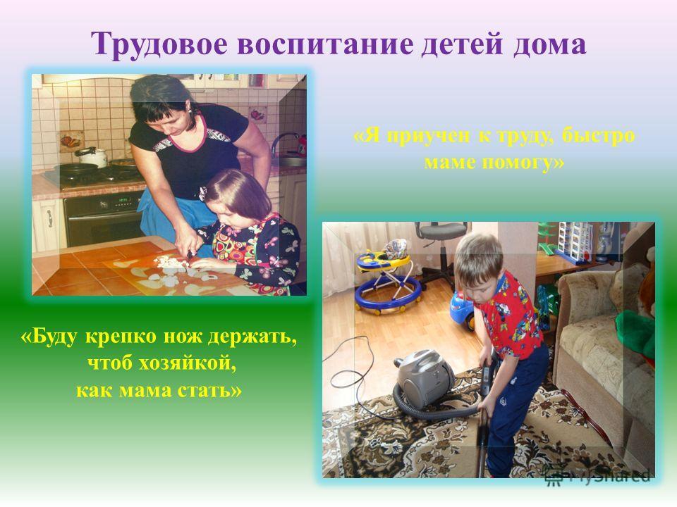 Трудовое воспитание детей дома «Буду крепко нож держать, чтоб хозяйкой, как мама стать» «Я приучен к труду, быстро маме помогу»