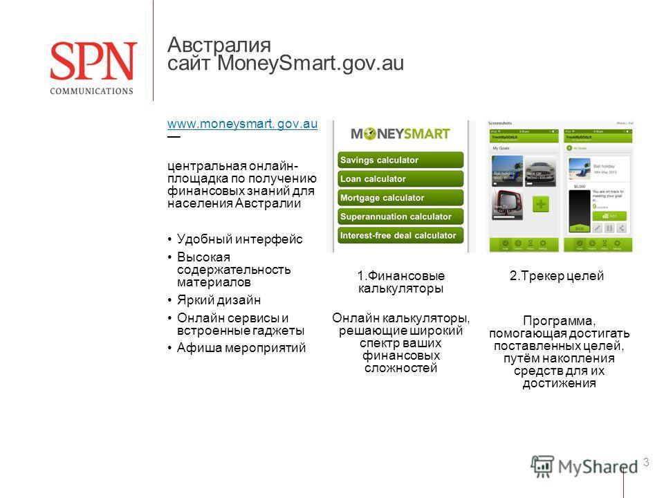 3 www.moneysmart. gov.au центральная онлайн- площадка по получению финансовых знаний для населения Австралии Удобный интерфейс Высокая содержательность материалов Яркий дизайн Онлайн сервисы и встроенные гаджеты Афиша мероприятий 1. Финансовые кальку