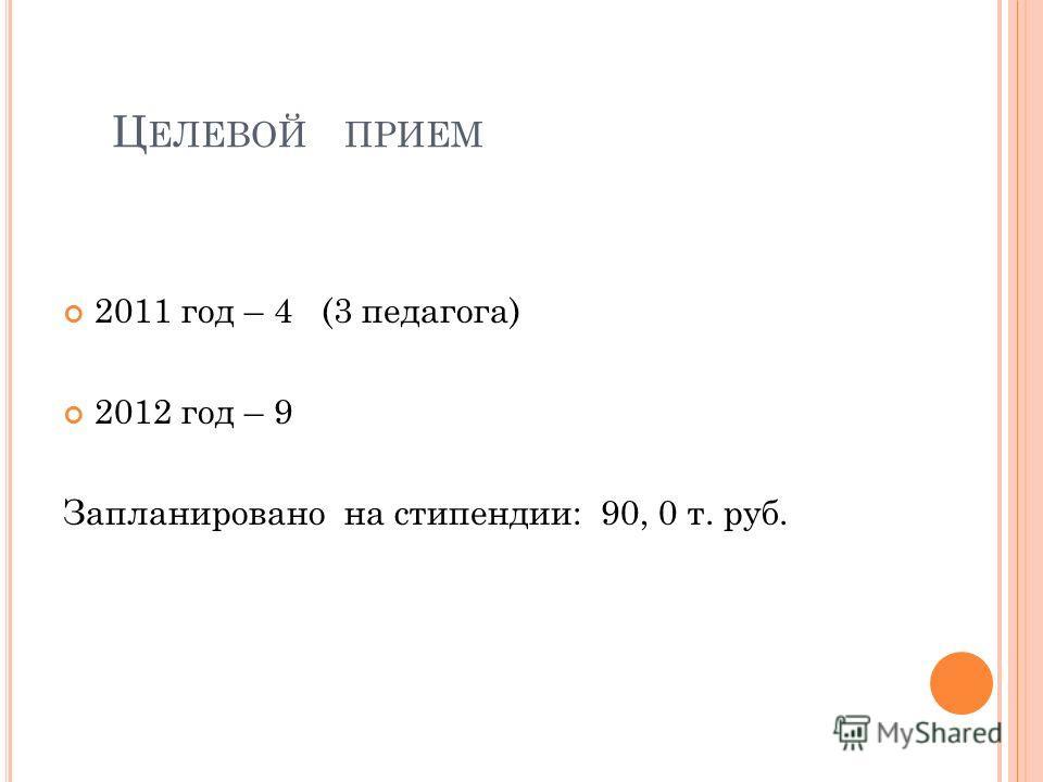 Ц ЕЛЕВОЙ ПРИЕМ 2011 год – 4 (3 педагога) 2012 год – 9 Запланировано на стипендии: 90, 0 т. руб.