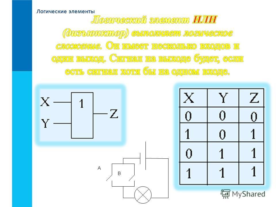 Логические элементы А В