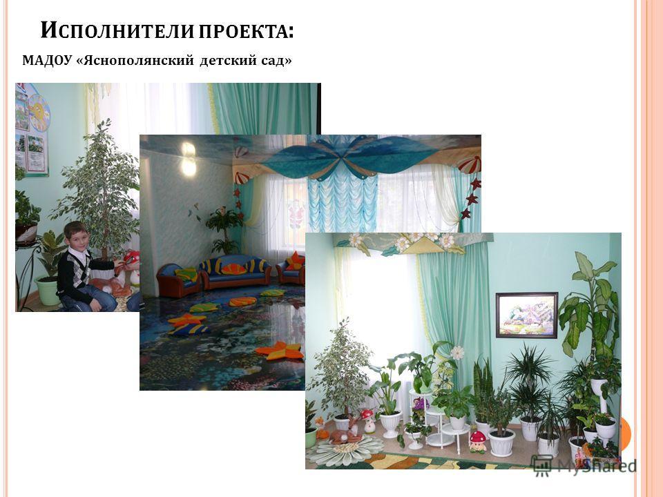 И СПОЛНИТЕЛИ ПРОЕКТА : МАДОУ «Яснополянский детский сад»