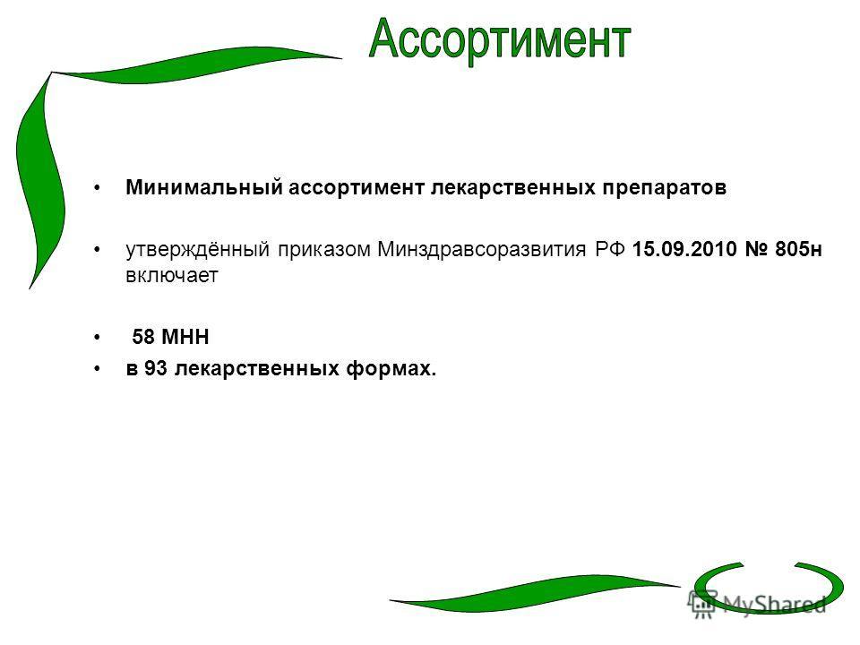 Минимальный ассортимент лекарственных препаратов утверждённый приказом Минздравсоразвития РФ 15.09.2010 805 н включает 58 МНН в 93 лекарственных формах.