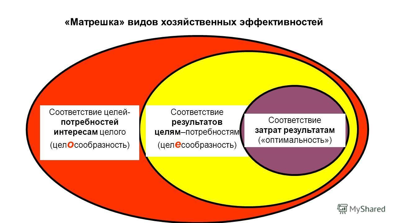 «Матрешка» видов хозяйственных эффективностей Соответствие целей- потребностей интересам целого (цел о сообразность) Соответствие результатов целям–потребностям (цел е сообразность) Соответствие затрат результатам («оптимальность»)