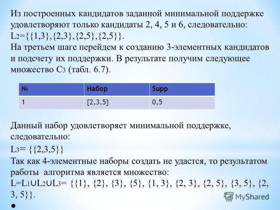 Из построенных кандидатов заданной минимальной поддержке удовлетворяют только кандидаты 2, 4, 5 и 6, следовательно: L 2 ={{1,3},{2,3},{2,5},{2,5}}. На третьем шаге перейдем к созданию 3-элементных кандидатов и подсчету их поддержки. В результате полу