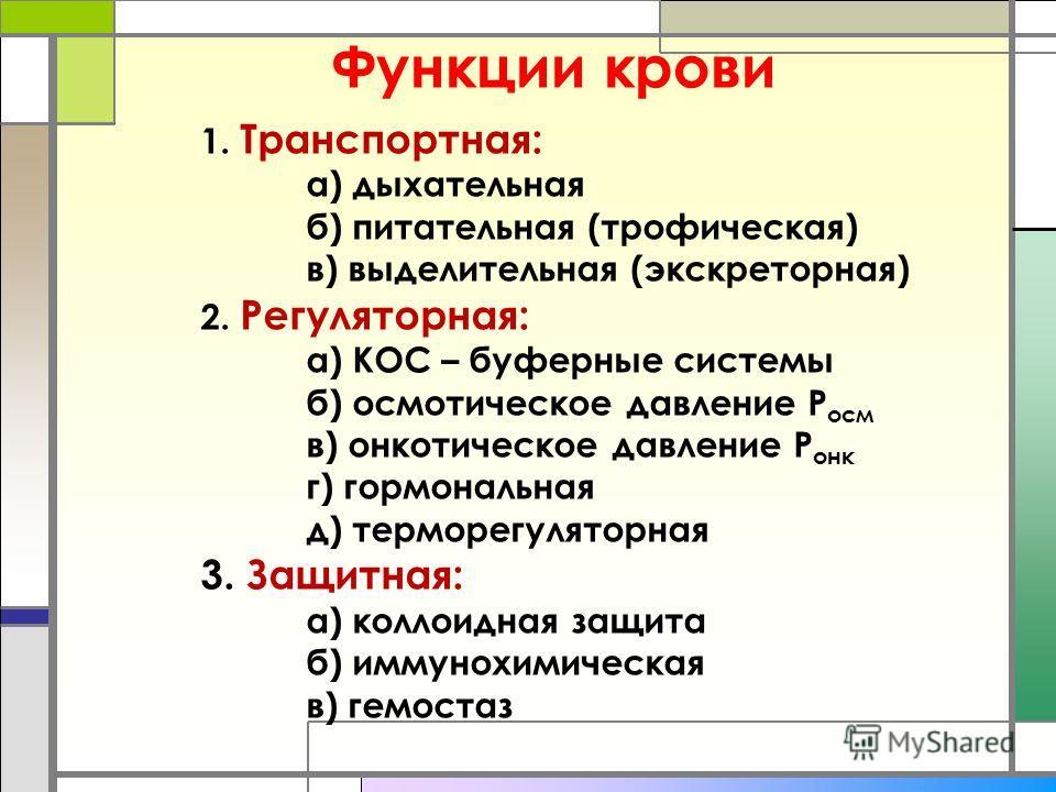 Функции крови 1. Транспортная: а) дыхательная б) питательная (трофическая) в) выделительная (экскреторная) 2. Регуляторная: а) КОС – буферные системы б) осмотическое давление Р осм в) онеотическое давление Р оне г) гормональная д) терморегуляторная 3