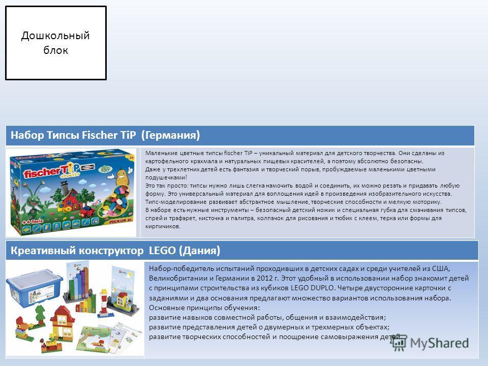 Креативный конструктор LEGO (Дания) Набор-победитель испытаний проходивших в детских садах и среди учителей из США, Великобритании и Германии в 2012 г. Этот удобный в использовании набор знакомит детей с принципами строительства из кубиков LEGO DUPLO