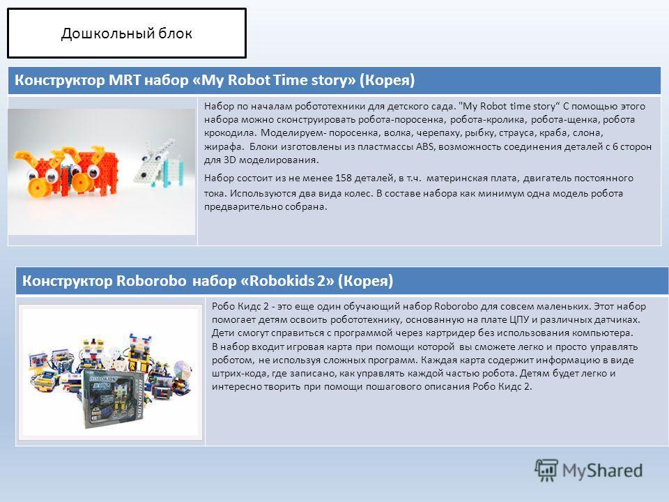 Конструктор MRT набор «My Robot Time story» (Корея) Набор по началам робототехники для детского сада.
