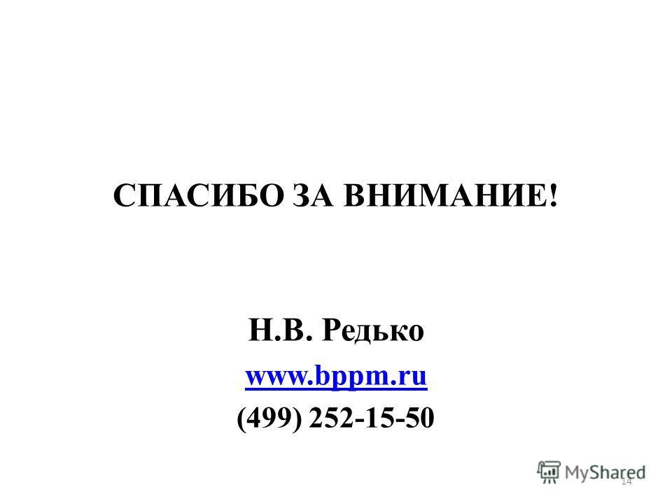 СПАСИБО ЗА ВНИМАНИЕ! Н.В. Редько www.bppm.ru (499) 252-15-50 14