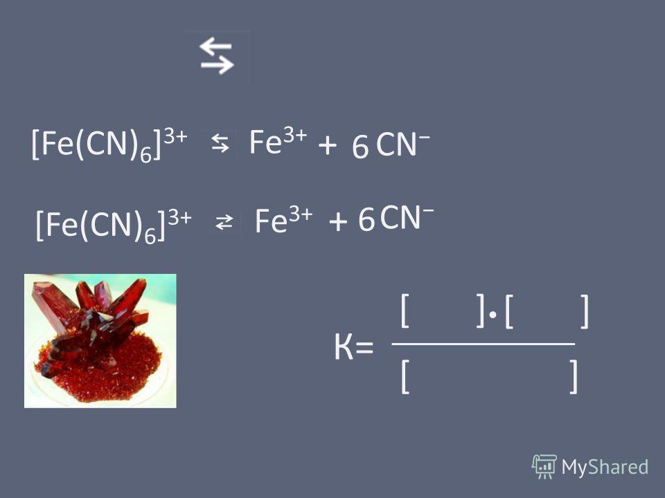 [Fe(CN) 6 ] 3+ + 6 К= [ ] [Fe(CN) 6 ] 3+ + 6