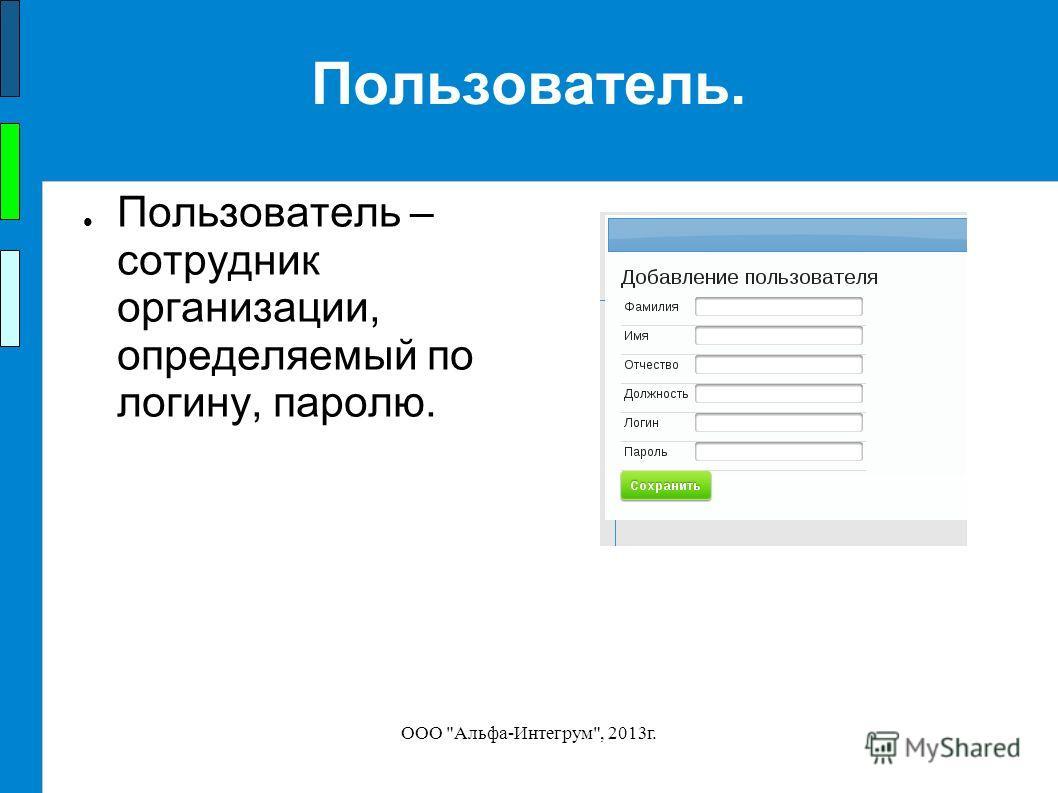 ООО Альфа-Интегрум, 2013 г. Пользователь. Пользователь – сотрудник организации, определяемый по логину, паролю.