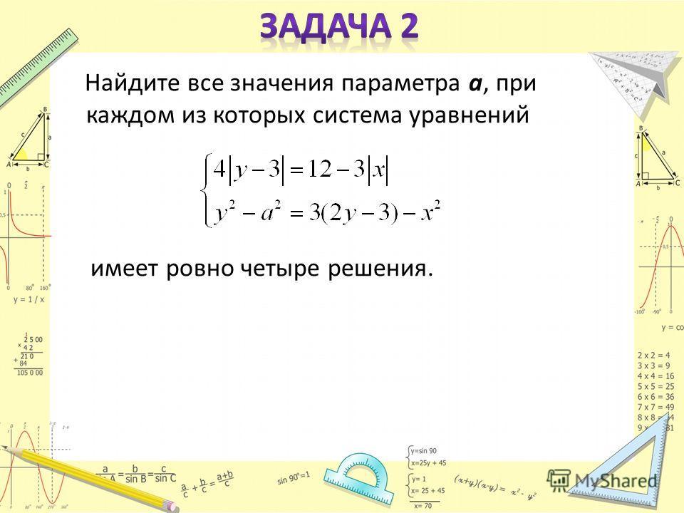 Найдите все значения параметра a, при каждом из которых система уравнений имеет ровно четыре решения.