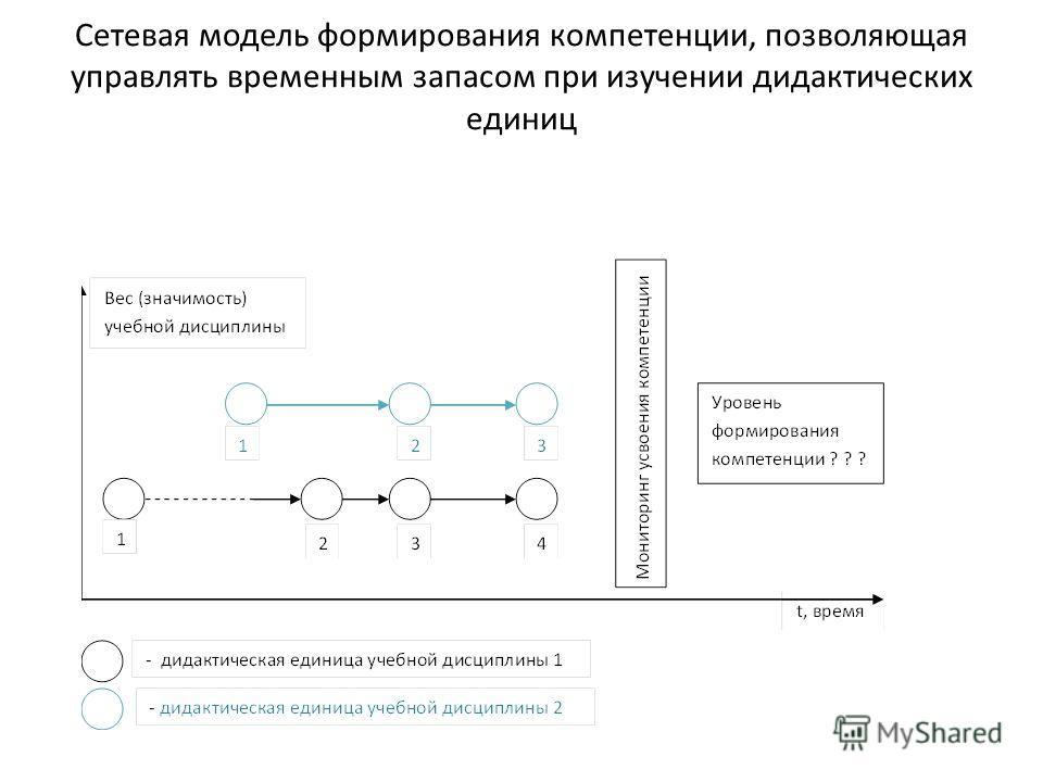 Сетевая модель формирования компетенции, позволяющая управлять временным запасом при изучении дидактических единиц