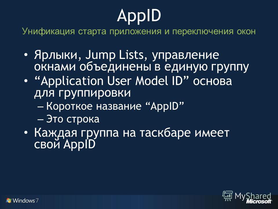 Ярлыки, Jump Lists, управление окнами объединены в единую группу Application User Model ID основа для группировки – Короткое название AppID – Это строка Каждая группа на таскбаре имеет свой AppID AppID Унификация старта приложения и переключения окон