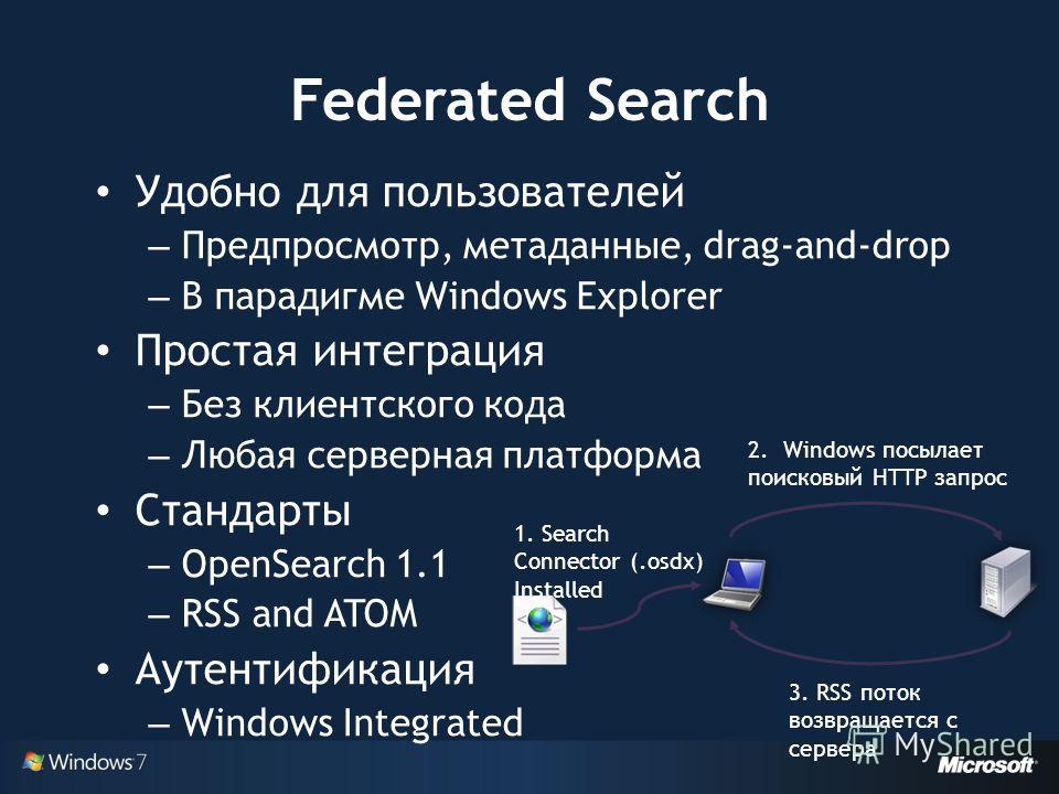 Удобно для пользователей – Предпросмотр, метаданные, drag-and-drop – В парадигме Windows Explorer Простая интеграция – Без клиентского кода – Любая серверная платформа Стандарты – OpenSearch 1.1 – RSS and ATOM Аутентификация – Windows Integrated 1. S
