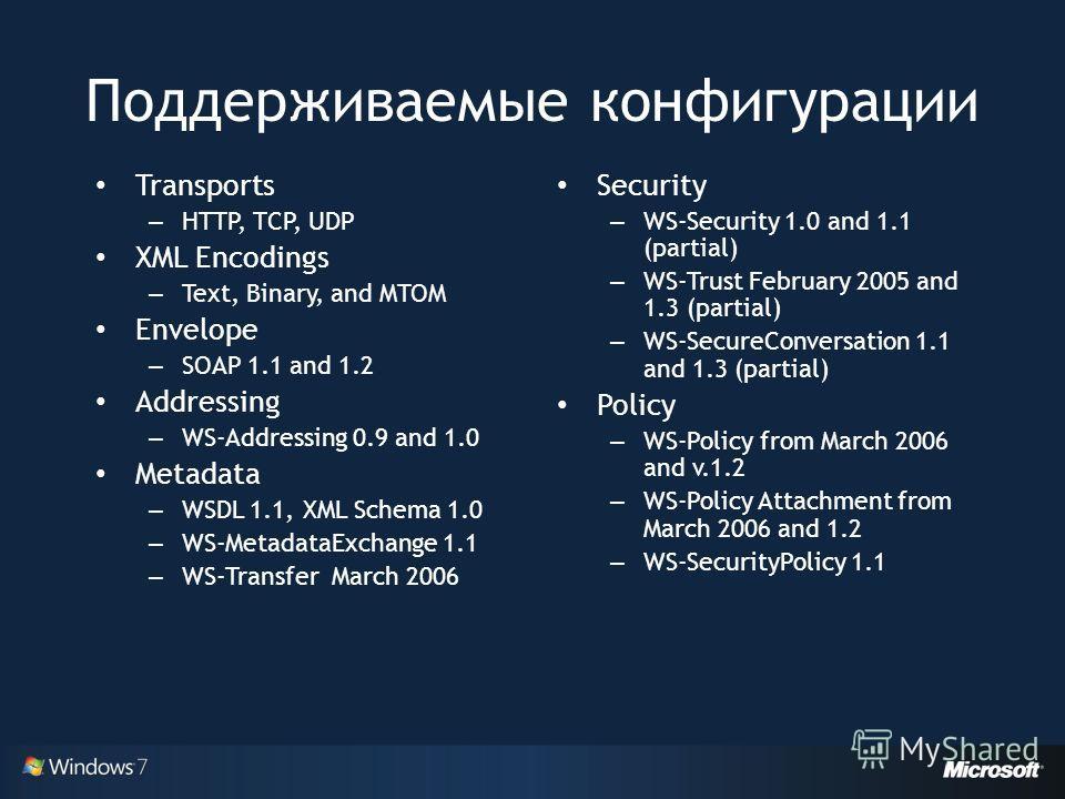 Поддерживаемые конфигурации Transports – HTTP, TCP, UDP XML Encodings – Text, Binary, and MTOM Envelope – SOAP 1.1 and 1.2 Addressing – WS-Addressing 0.9 and 1.0 Metadata – WSDL 1.1, XML Schema 1.0 – WS-MetadataExchange 1.1 – WS-Transfer March 2006 S