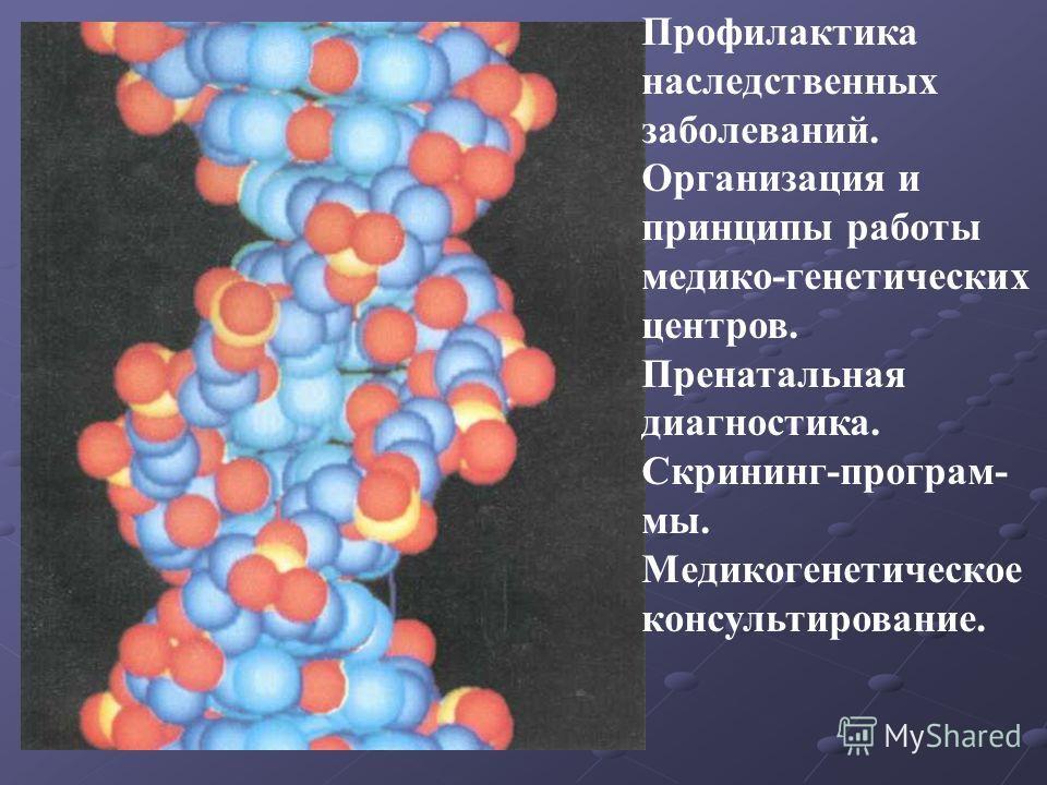 Профилактика наследственных заболеваний. Организация и принципы работы медико-генетических центров. Пренатальная диагностика. Скрининг-программы. Медикогенетическое консультирование.