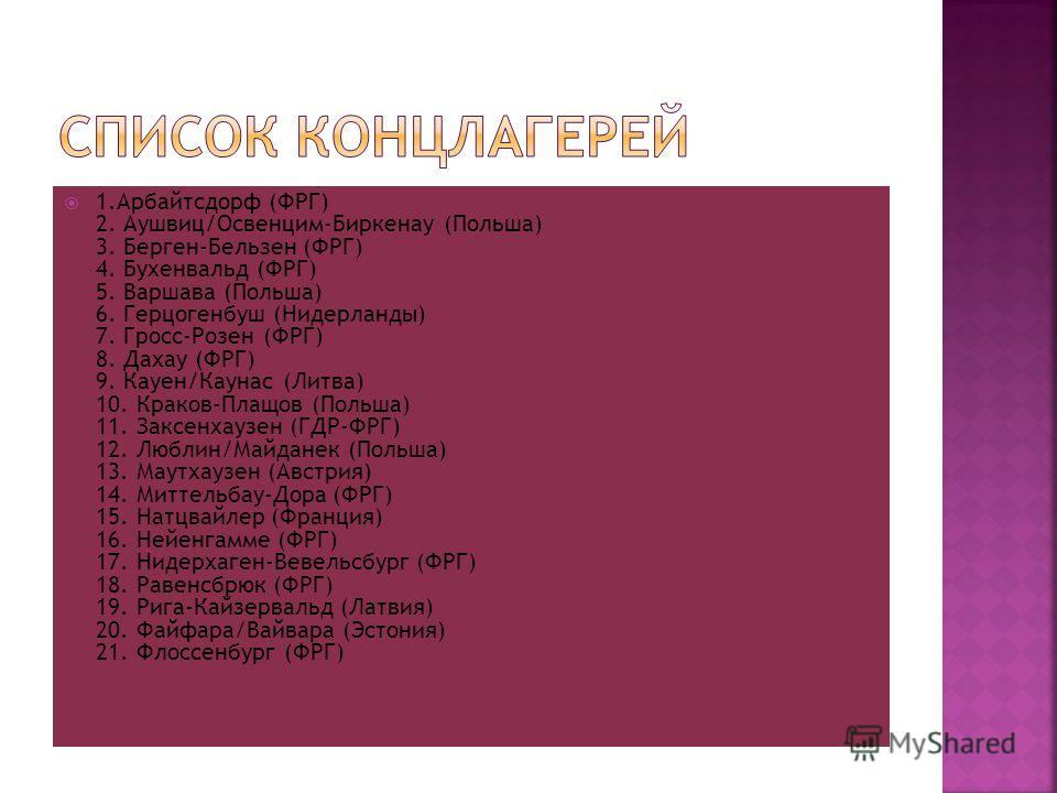 1. Арбайтсдорф (ФРГ) 2. Аушвиц/Освенцим-Биркенау (Польша) 3. Берген-Бельзен (ФРГ) 4. Бухенвальд (ФРГ) 5. Варшава (Польша) 6. Герцогенбуш (Нидерланды) 7. Гросс-Розен (ФРГ) 8. Дахау (ФРГ) 9. Кауен/Каунас (Литва) 10. Краков-Плащов (Польша) 11. Заксенхау