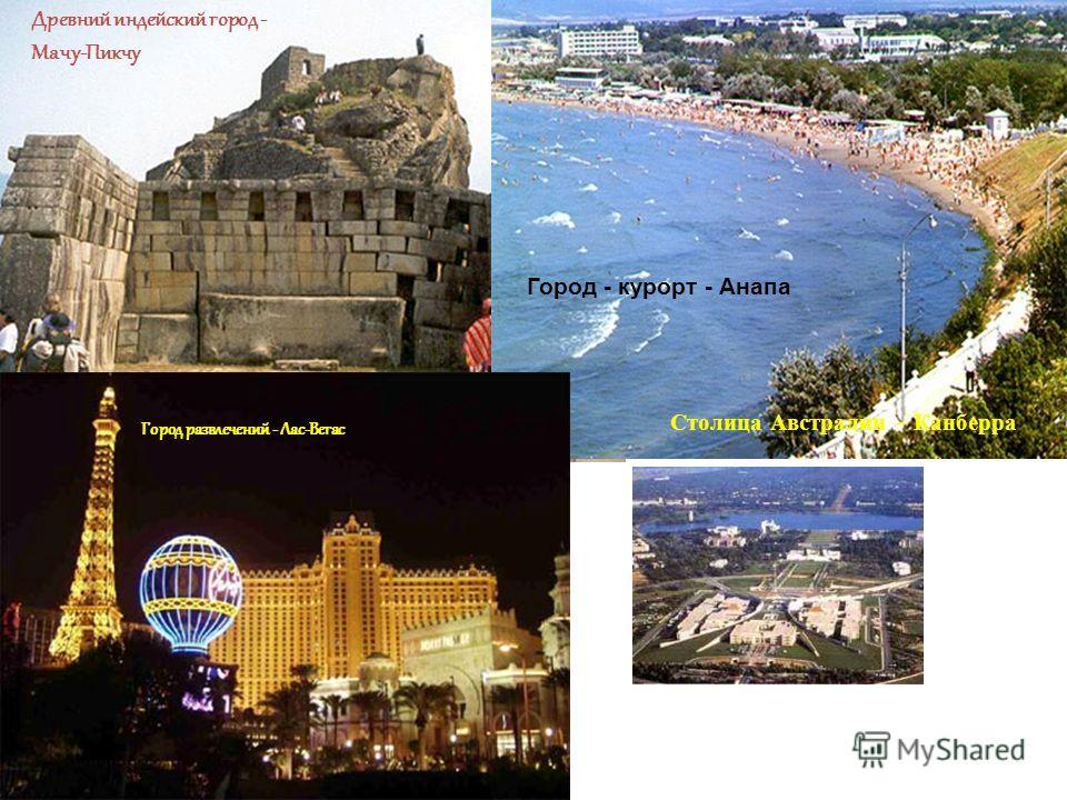 Древний индейский город - Мачу-Пикчу Город - курорт - Анапа Город развлечений - Лас-Вегас Столица Австралии - Канберра