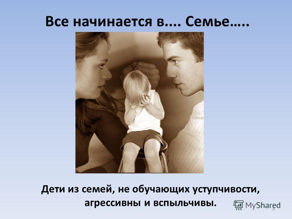 Все начинается в.... Семье….. Дети из семей, не обучающих уступчивости, агрессивны и вспыльчивы. 4