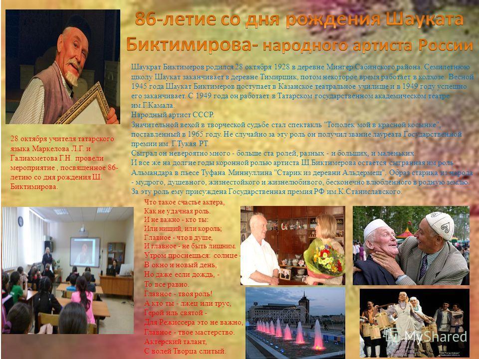 Шаукрат Биктимеров родился 28 октября 1928 в деревне Мингер Сабинского района. Семилетнюю школу Шаукат заканчивает в деревне Тимиршик, потом некоторое время работает в колхозе. Весной 1945 года Шаукат Биктимеров поступает в Казанское театральное учил