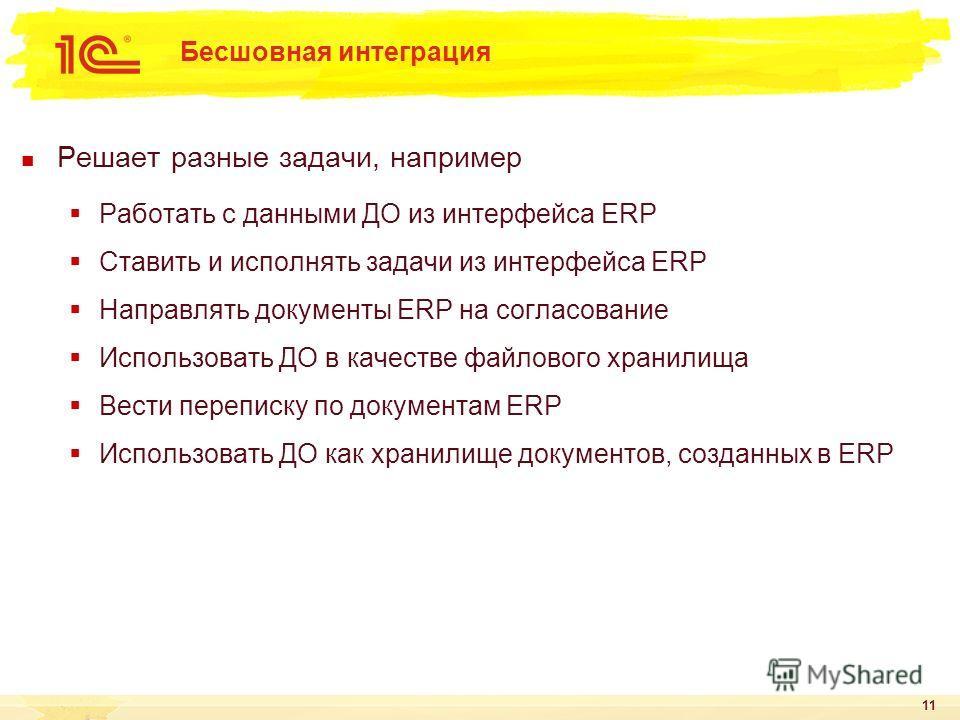 Бесшовная интеграция Решает разные задачи, например Работать с данными ДО из интерфейса ERP Ставить и исполнять задачи из интерфейса ERP Направлять документы ERP на согласование Использовать ДО в качестве файлового хранилища Вести переписку по докуме