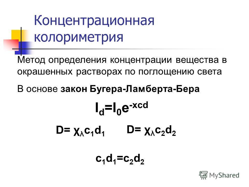 Концентрационная колориметрия Метод определения концентрации вещества в окрашенных растворах по поглощению света В основе закон Бугера-Ламберта-Бера I d =I 0 e -xcd D= χ λ c 1 d 1 D= χ λ c 2 d 2 c1d1=c2d2c1d1=c2d2