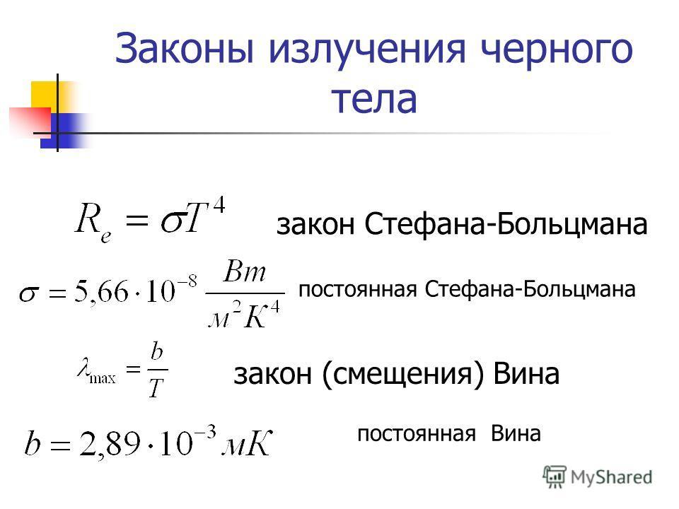 Законы излучения черного тела закон Стефана-Больцмана закон (смещения) Вина постоянная Стефана-Больцмана постоянная Вина