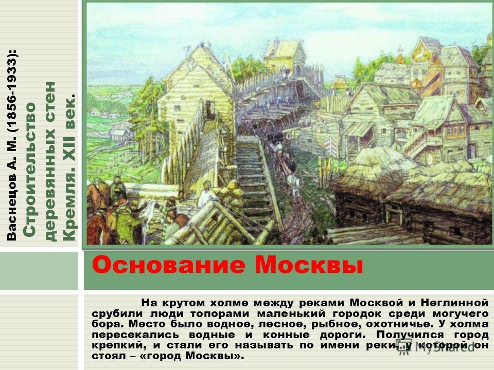 На крутом холме между реками Москвой и Неглинной срубили люди топорами маленький городок среди могучего бора. Место было водное, лесное, рыбное, охотничье. У холма пересекались водные и конные дороги. Получился город крепкий, и стали его называть по