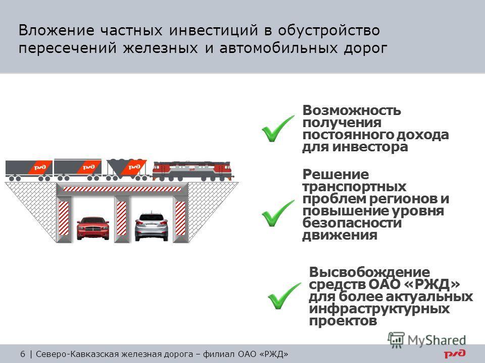 Вложение частных инвестиций в обустройство пересечений железных и автомобильных дорог 6 | Северо-Кавказская железная дорога – филиал ОАО «РЖД»