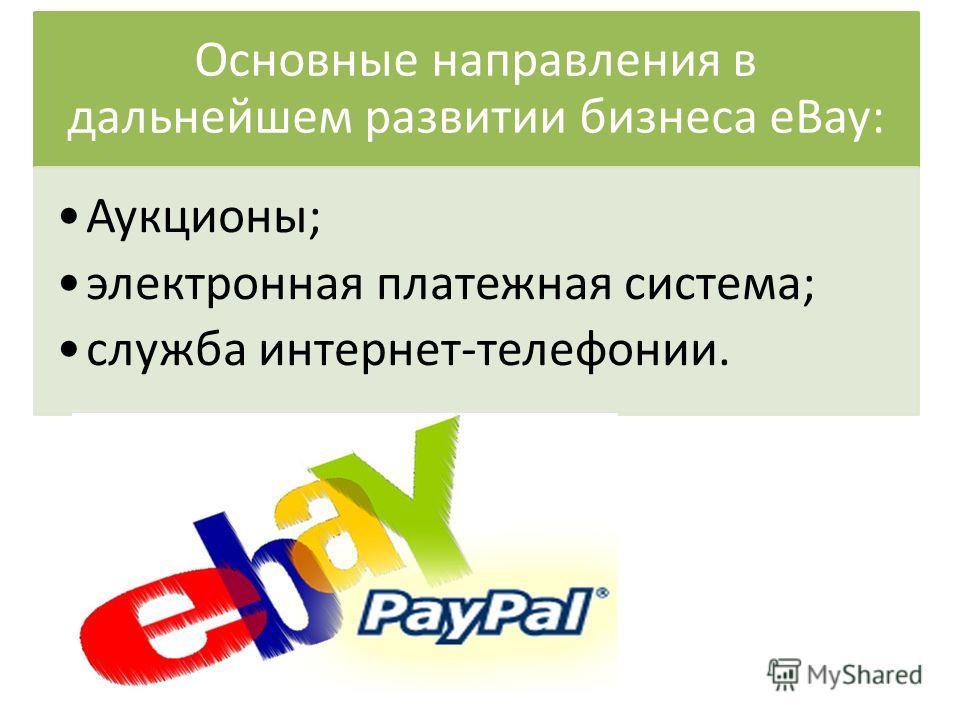 Основные направления в дальнейшем развитии бизнеса eBay: Аукционы; электронная платежная система; служба интернет-телефонии.