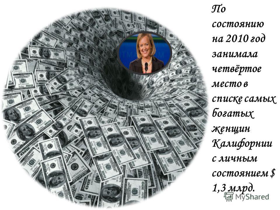 По состоянию на 2010 год занимала четвёртое место в списке самых богатых женщин Калифорнии с личным состоянием $ 1,3 млрд.