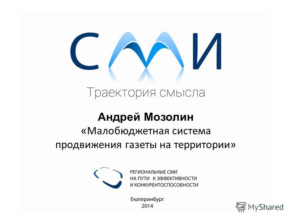 Андрей Мозолин « Малобюджетная система продвижения газеты на территории»