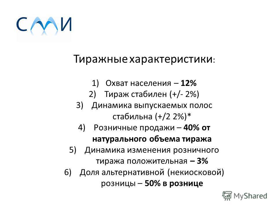 Тиражные характеристики : 1)Охват населения – 12% 2)Тираж стабилен (+/- 2%) 3)Динамика выпускаемых полос стабильна (+/2 2%)* 4)Розничные продажи – 40% от натурального объема тиража 5)Динамика изменения розничного тиража положительная – 3% 6)Доля альт