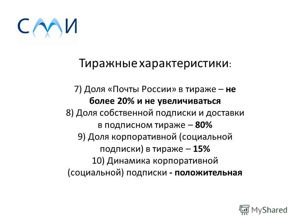 Тиражные характеристики : 7) Доля «Почты России» в тираже – не более 20% и не увеличиваться 8) Доля собственной подписки и доставки в подписном тираже – 80% 9) Доля корпоративной (социальной подписки) в тираже – 15% 10) Динамика корпоративной (социал
