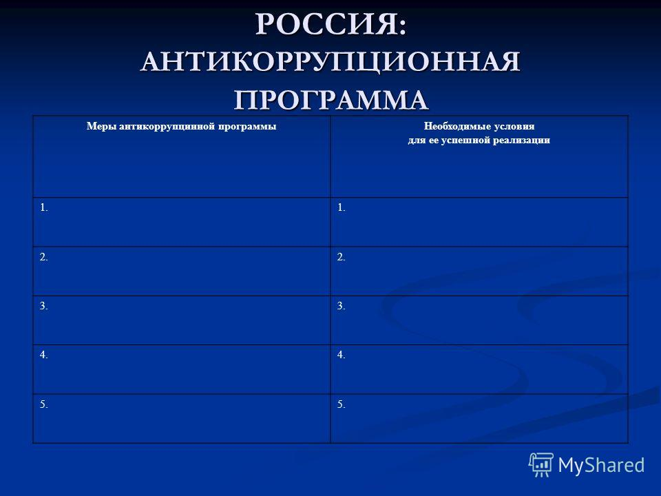 РОССИЯ: АНТИКОРРУПЦИОННАЯ ПРОГРАММА Меры антикоррупцинной программы Необходимые условия для ее успешной реализации 1. 2. 3. 4. 5.