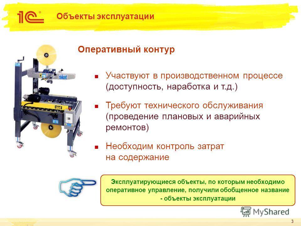 3 Объекты эксплуатации Участвуют в производственном процессе (доступность, наработка и т.д.) Требуют технического обслуживания (проведение плановых и аварийных ремонтов) Необходим контроль затрат на содержание Эксплуатирующиеся объекты, по которым не