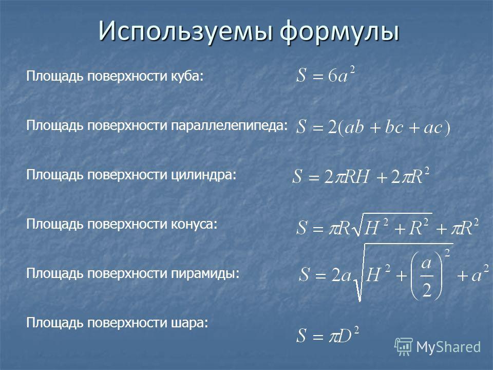 Используемы формулы Площадь поверхности куба: Площадь поверхности параллелепипеда: Площадь поверхности цилиндра: Площадь поверхности конуса: Площадь поверхности пирамиды: Площадь поверхности шара: