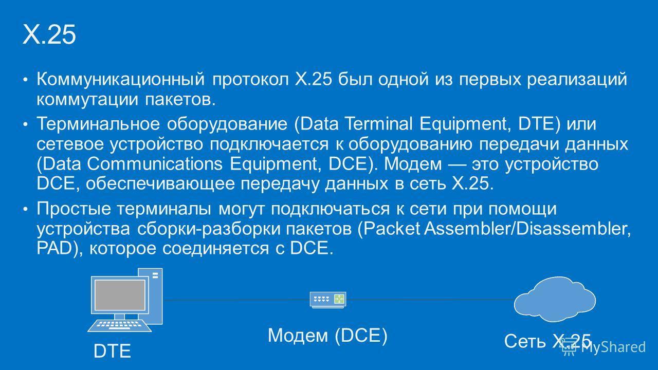 Коммуникационный протокол X.25 был одной из первых реализаций коммутации пакетов. Терминальное оборудование (Data Terminal Equipment, DTE) или сетевое устройство подключается к оборудованию передачи данных (Data Communications Equipment, DCE). Модем