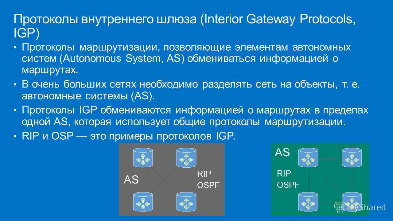 Протоколы маршрутизации, позволяющие элементам автономных систем (Autonomous System, AS) обмениваться информацией о маршрутах. В очень больших сетях необходимо разделять сеть на объекты, т. е. автономные системы (AS). Протоколы IGP обмениваются инфор