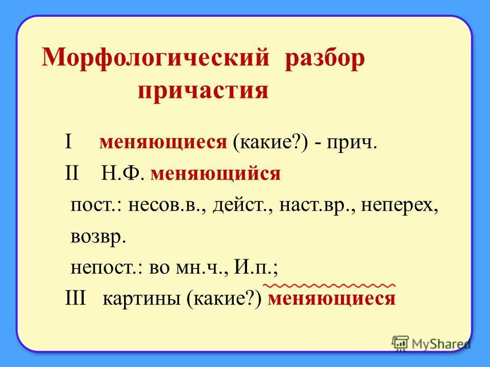 Морфологический разбор причастия I меняющиеся (какие?) - прич. II Н.Ф. меняющийся пост.: несов.в., дейст., наст.вр., не перех, возвр. непост.: во мн.ч., И.п.; III картины (какие?) меняющиеся