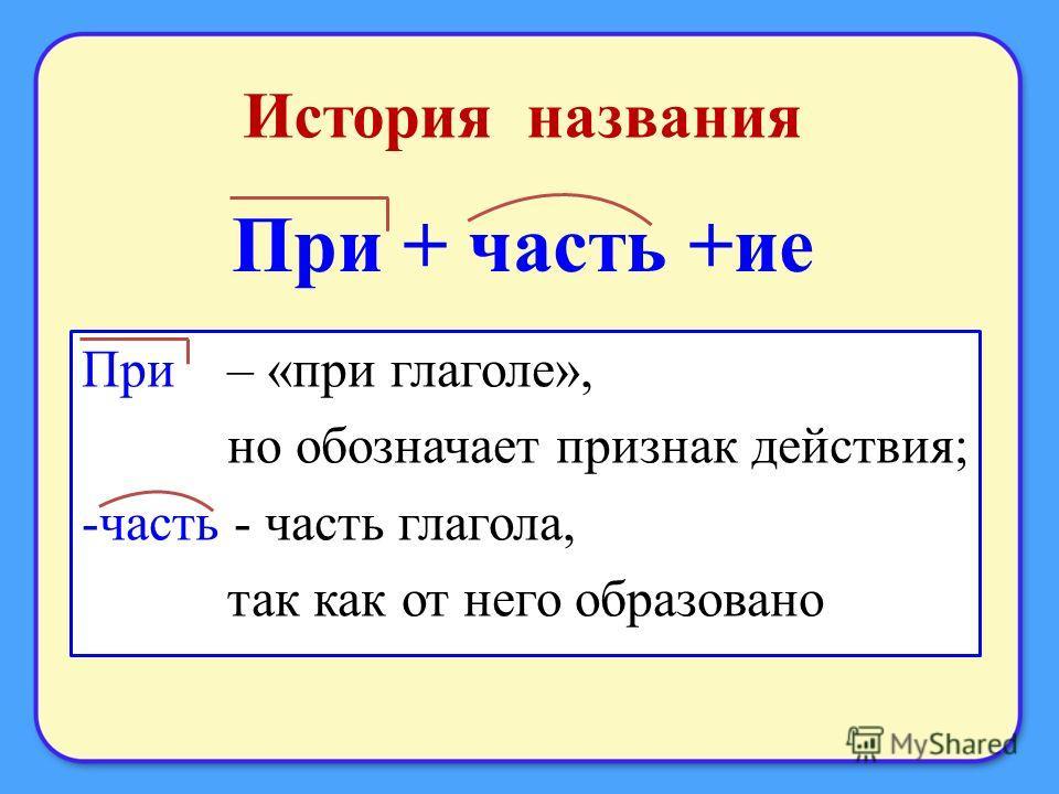 История названия При + часть +ие При – «при глаголе», но обозначает признак действия; -часть - часть глагола, так как от него образовано