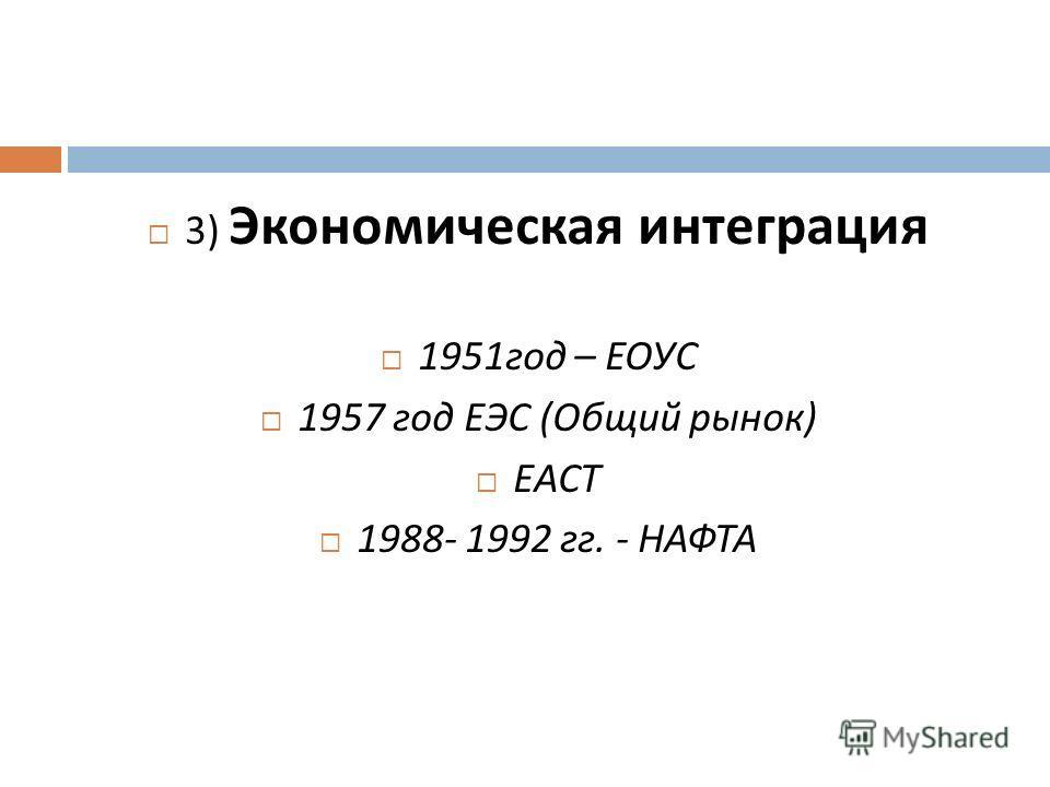 3) Экономическая интеграция 1951 год – ЕОУС 1957 год ЕЭС ( Общий рынок ) ЕАСТ 1988- 1992 гг. - НАФТА