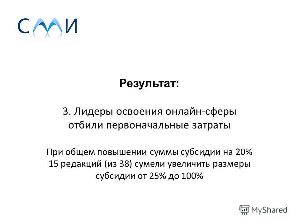 Результат: 3. Лидеры освоения онлайн-сферы отбили первоначальные затраты При общем повышении суммы субсидии на 20% 15 редакций (из 38) сумели увеличить размеры субсидии от 25% до 100%