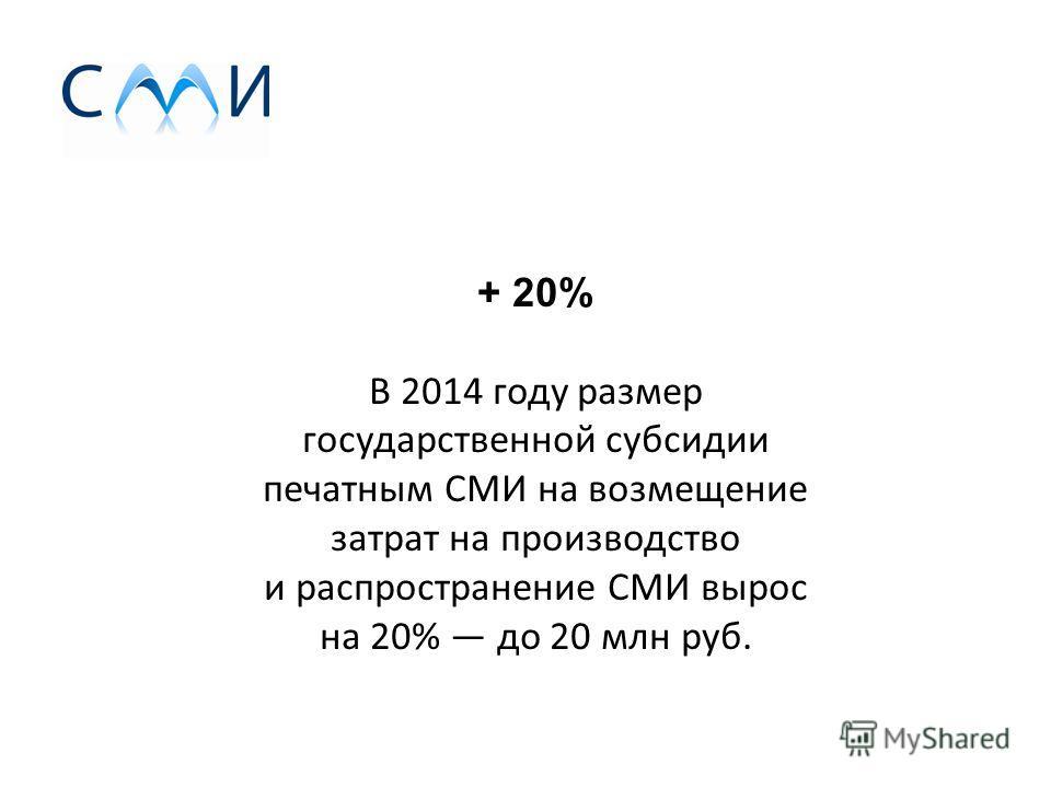 + 20% В 2014 году размер государственной субсидии печатным СМИ на возмещение затрат на производство и распространение СМИ вырос на 20% до 20 млн руб.