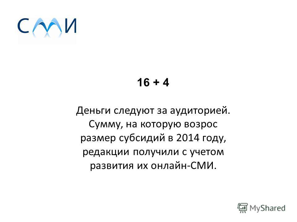 16 + 4 Деньги следуют за аудиторией. Сумму, на которую возрос размер субсидий в 2014 году, редакции получили с учетом развития их онлайн-СМИ.