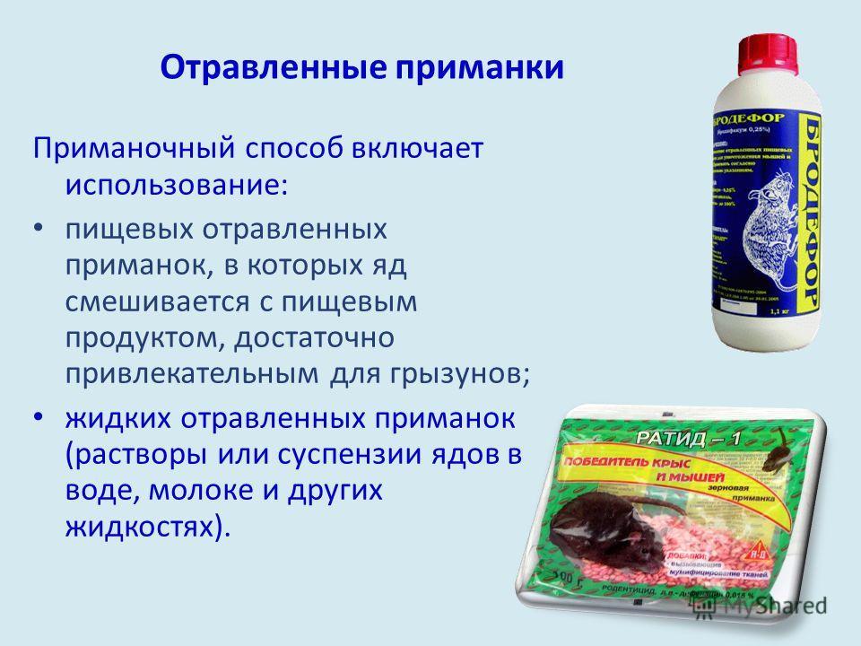 Отравленные приманки Приманочный способ включает использование: пищевых отравленных приманок, в которых яд смешивается с пищевым продуктом, достаточно привлекательным для грызунов; жидких отравленных приманок (растворы или суспензии ядов в воде, моло
