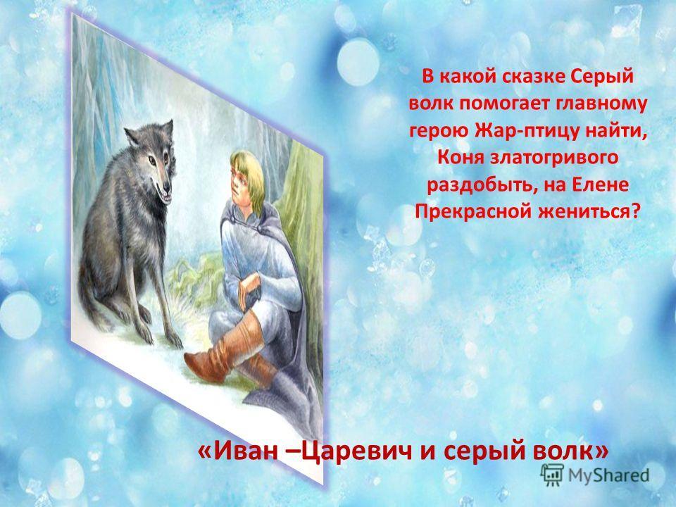 В какой сказке Серый волк помогает главному герою Жар-птицу найти, Коня златогривого раздобыть, на Елене Прекрасной жениться? «Иван –Царевич и серый волк»
